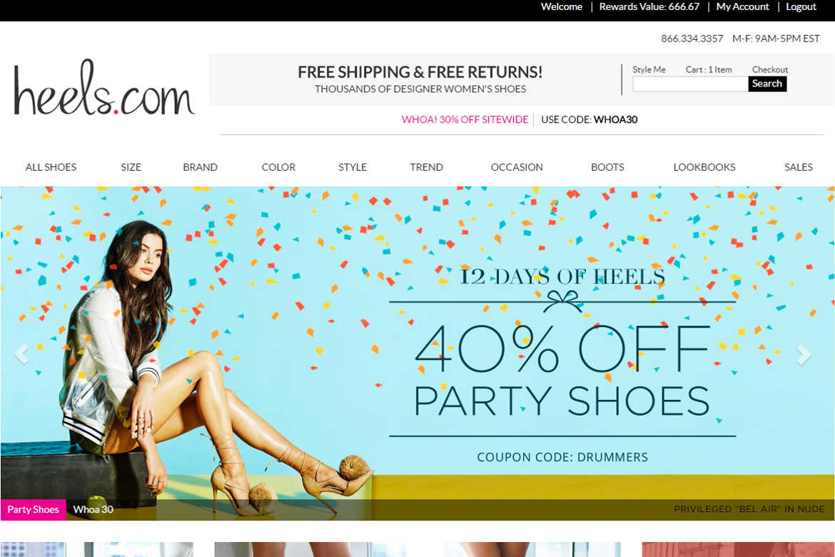 Heels.com Home or Landing Page